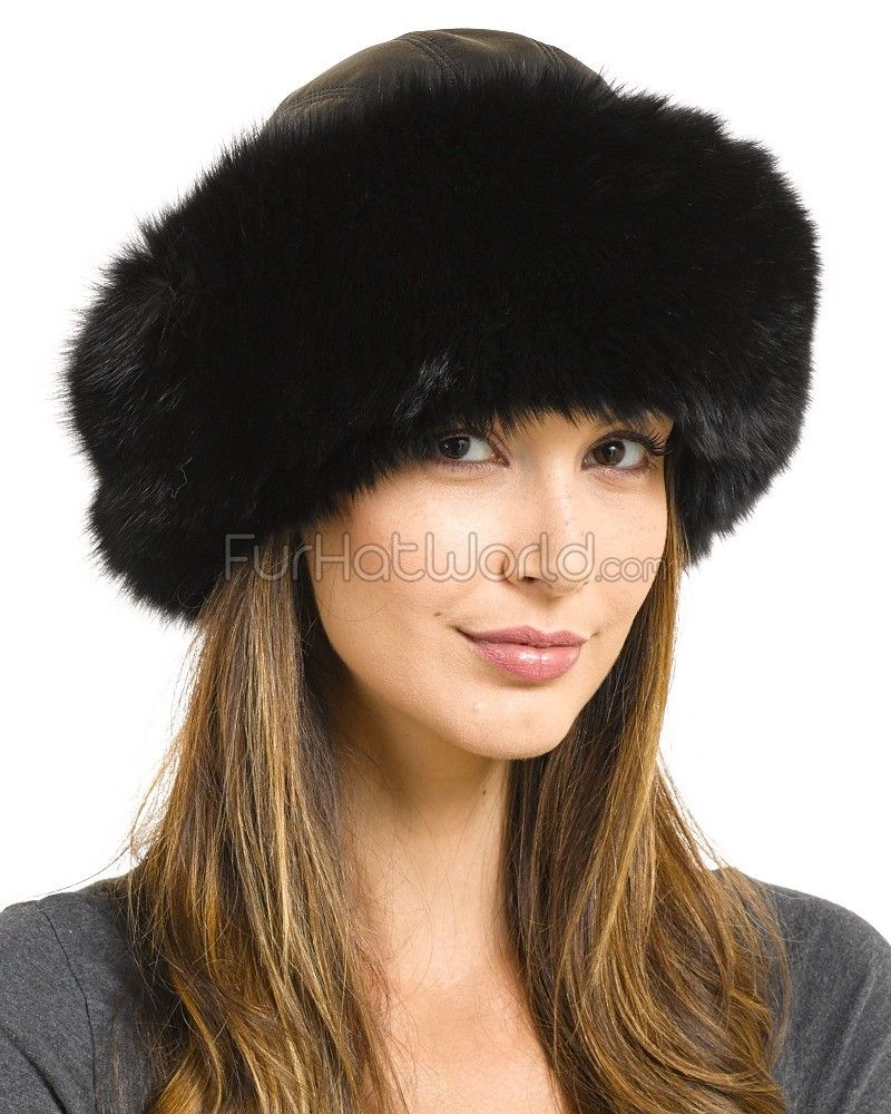 a4abb8194 Samantha Black Fox Fur Roller Hat with Leather Top in 2019 ...