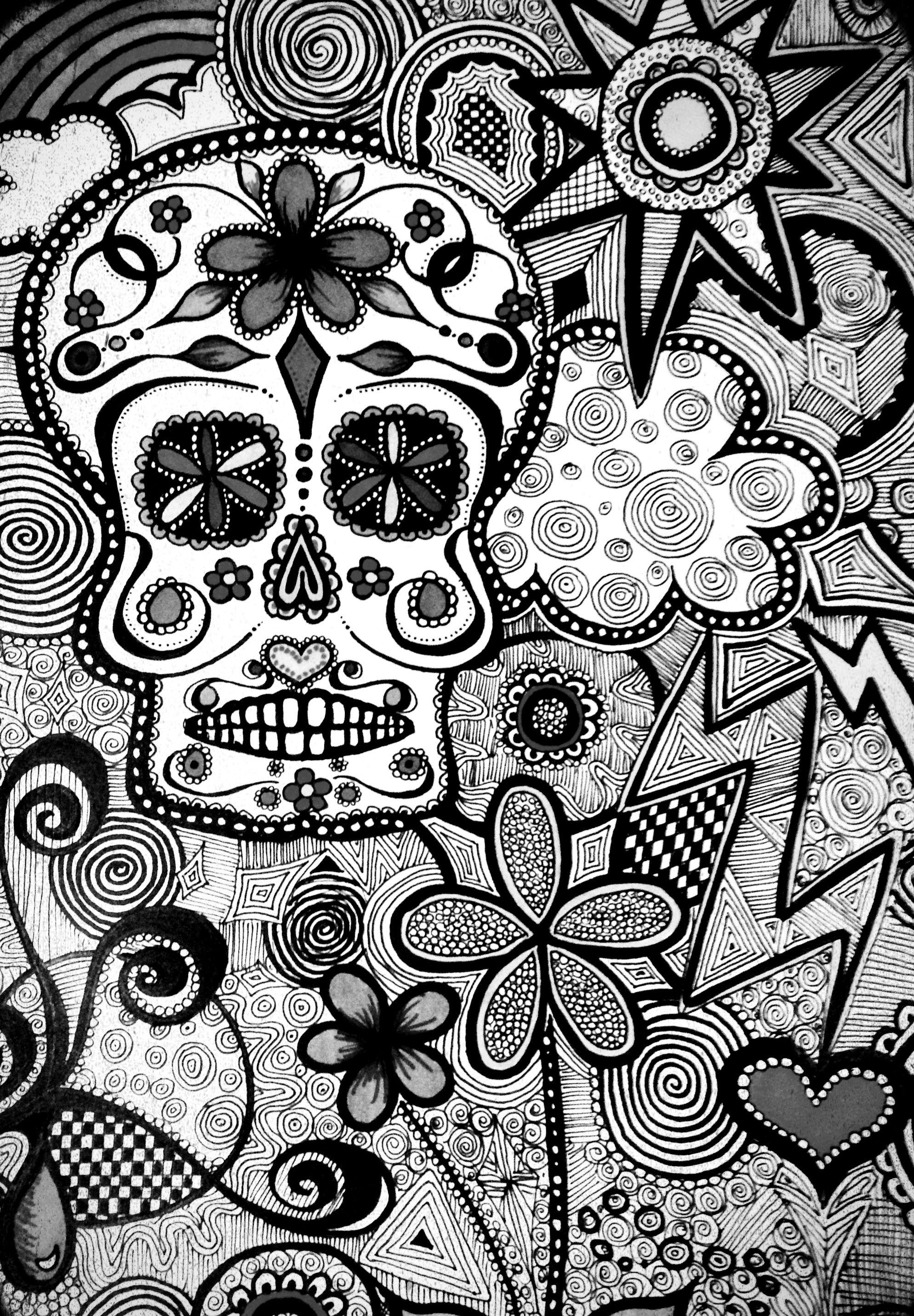 Black And White Candy Skull Wallpaper C Kc Skull Sketch Skull