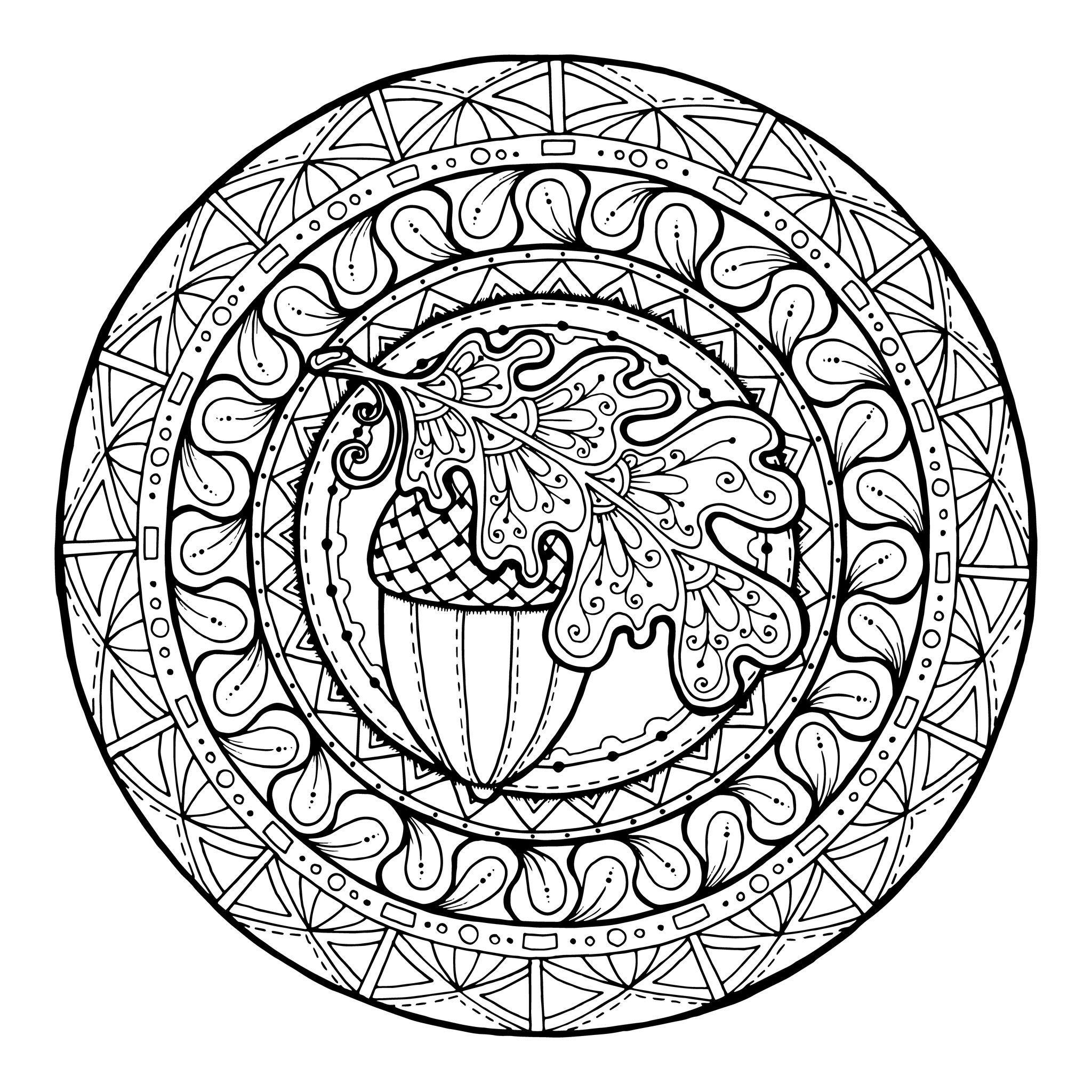 Élégant Dessin A Colorier Mandala Automne