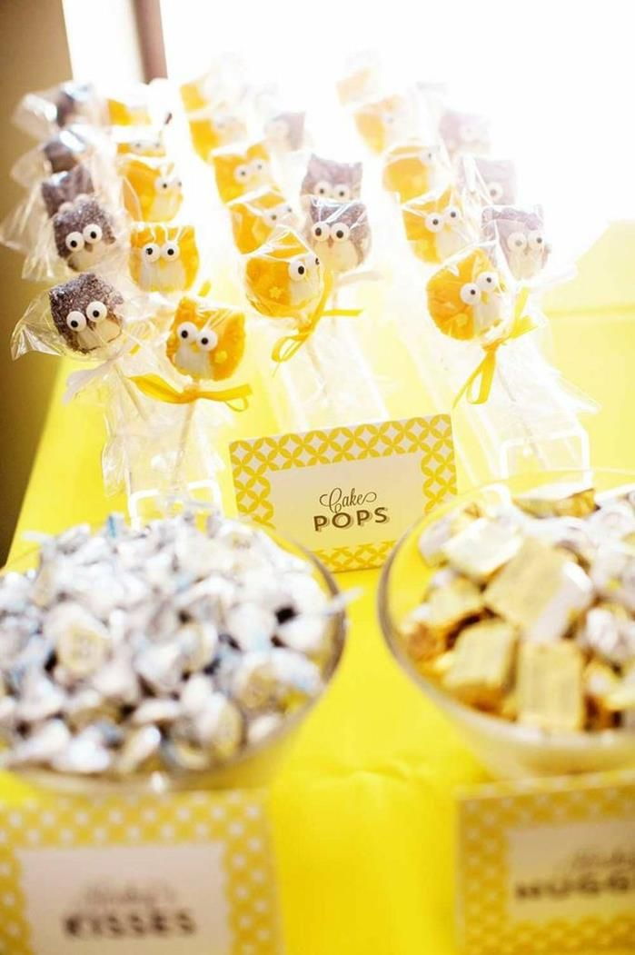 Owl Themed Yellow And Gray Twin Baby Shower