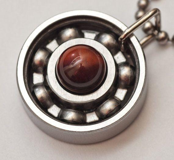 Red Tigers Eye Roller Derby Skate Bearing Pendant #rollerderby #bearingjewelry #derbygirldesigns #rollerderbygifts