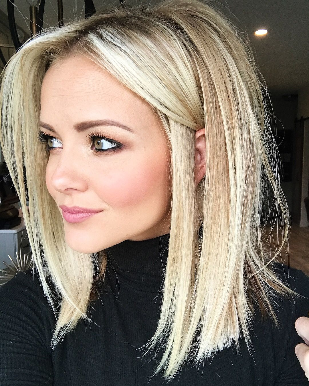 Blonde lob haircut love her color and he length hair and beauty