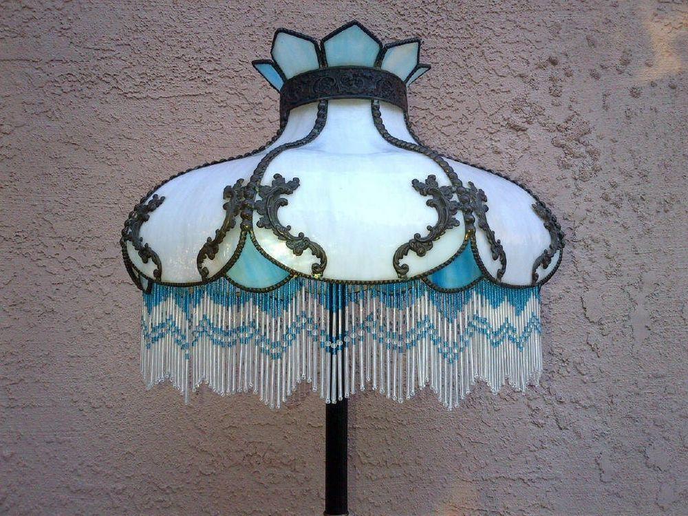 Art nouveau victorian stylized glass floor lamp shade beaded fringe art nouveau victorian stylized glass floor lamp shade beaded fringe aloadofball Images