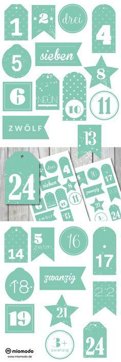 ★ Adventskalender Zahlen zum Ausdrucken - Sparkle Mint #adventskalendermann