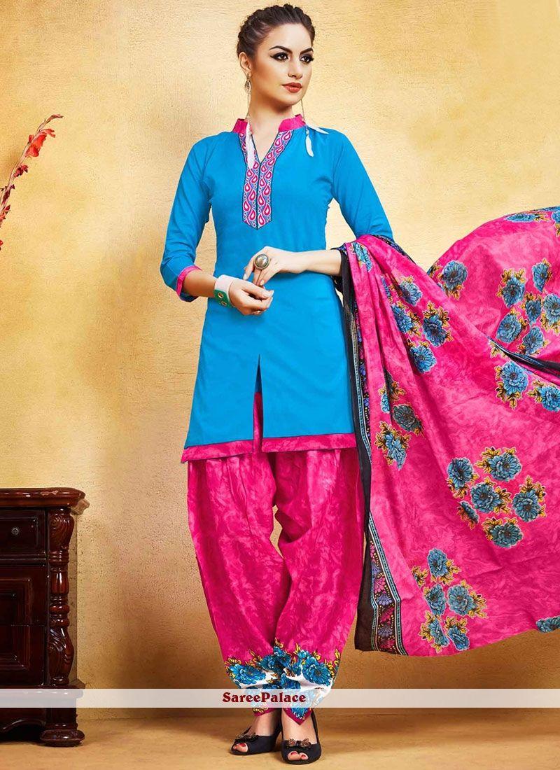 d44afe9702 Best Blue and Hot Pink Punjabi Suit Salwar Suits, Patiala Suit, Shalwar  Kameez,