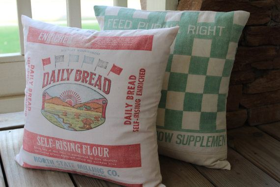 Vintage Flour Sack Pillow Cover Daily Bread By Catnapcottage 45 00