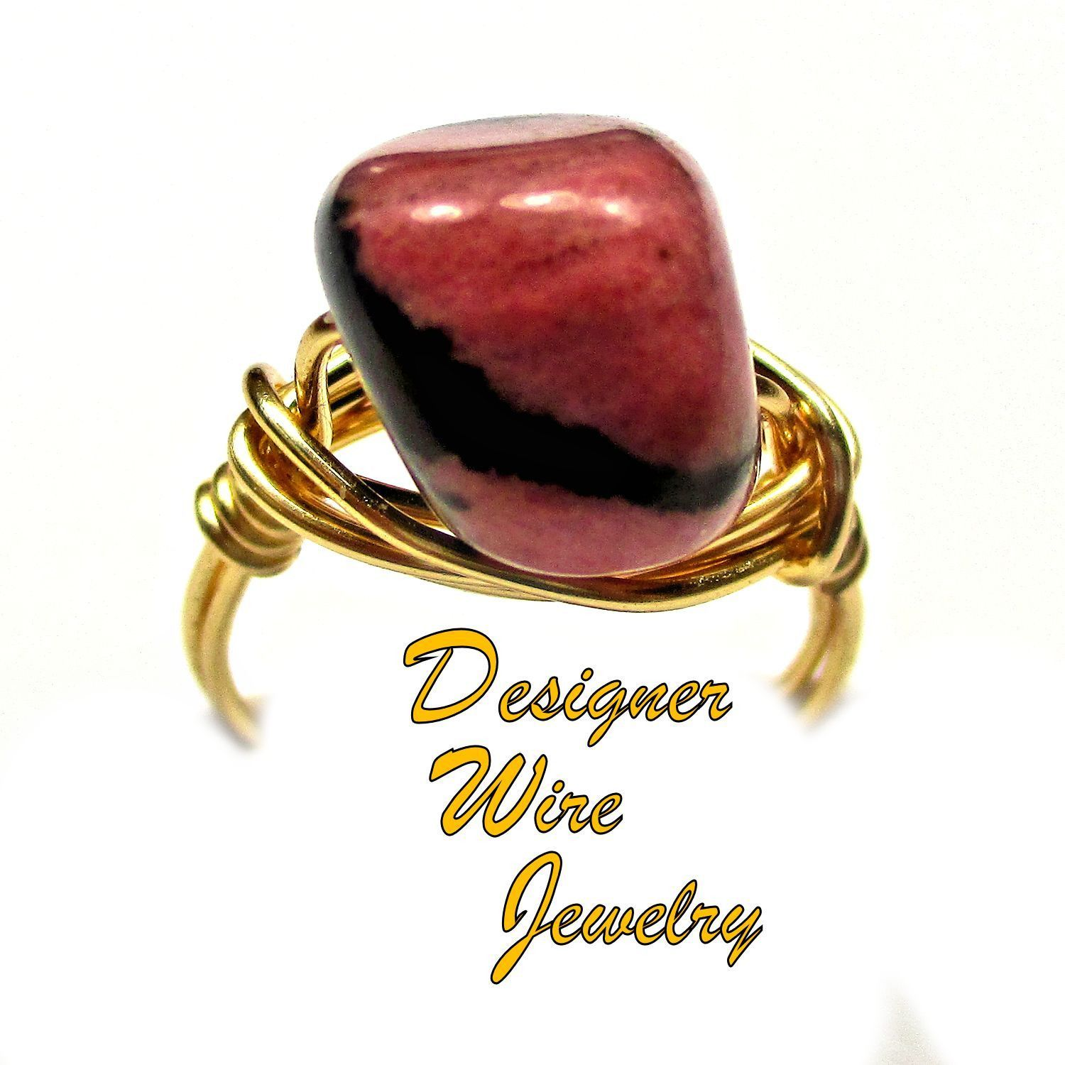 DWJ0443 Lovely Pink & Black Rhodonite Gemstone Nugget Gold Wire Wrapped Ring