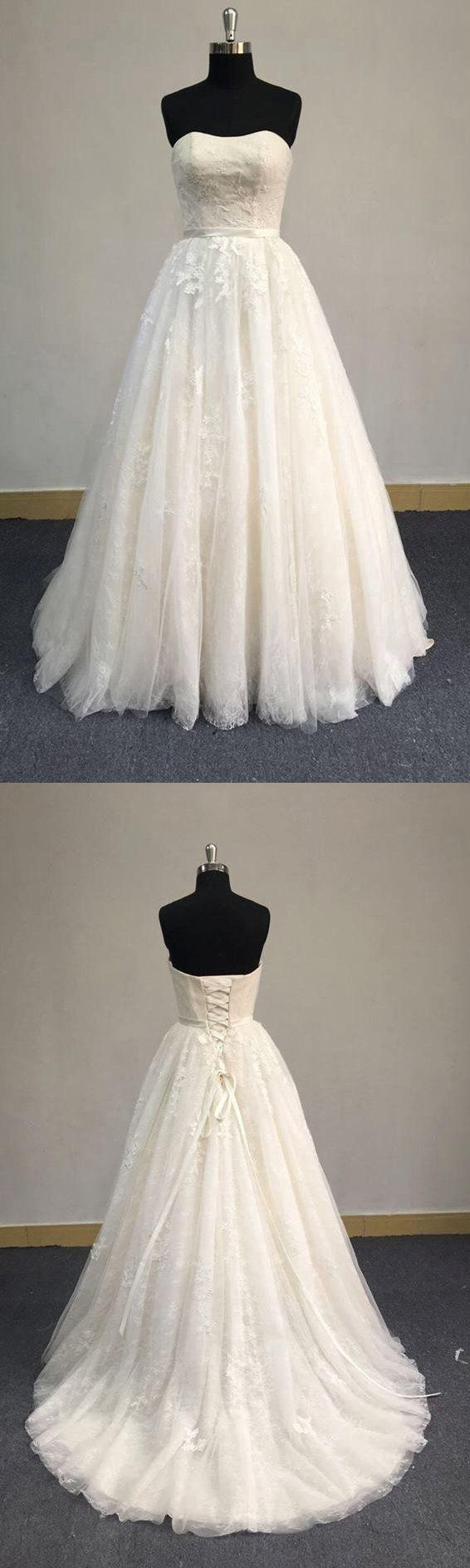 Strapless A-Line Tulle Wedding Dress With Lace Bodice-ET_711424