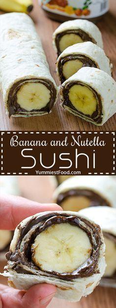 Bananen-Nutella-Sushi ~ #BananenNutellaSushi #dessertsushi