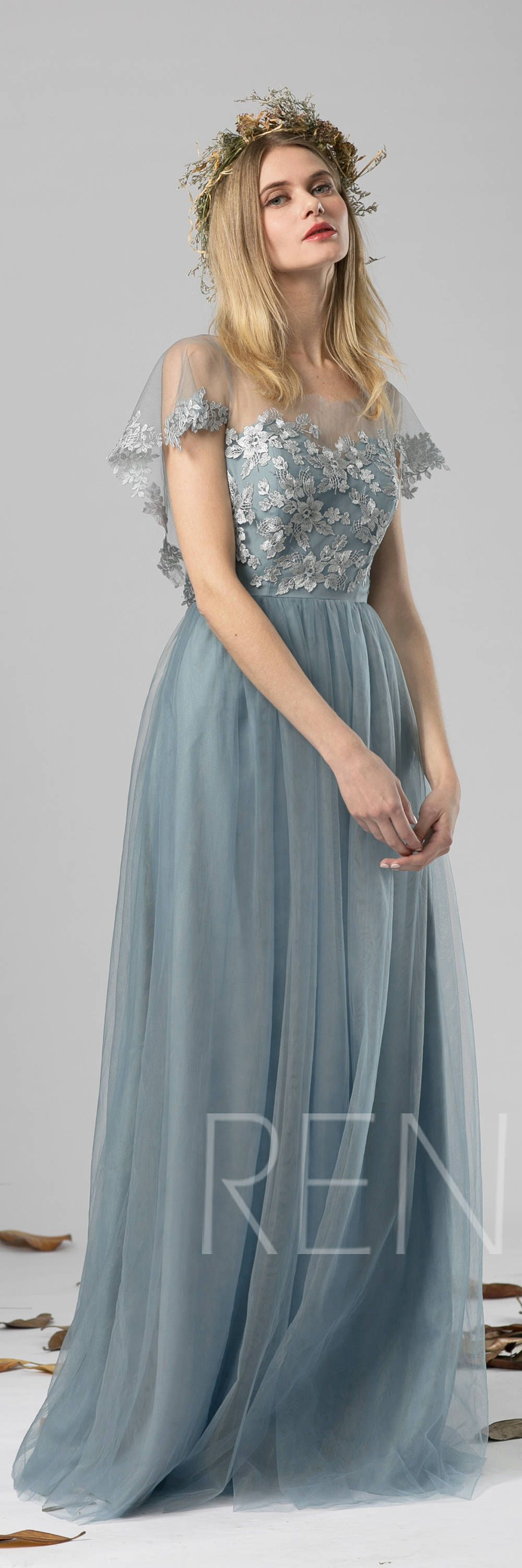Bridesmaid Dress Dusty Blue Tulle Dress Wedding Dress Lace Ruffle Sleeve Party Dress Round Neck Maxi Dress Open Back Gowns Of Elegance Dresses Fashion Dresses [ 3000 x 1000 Pixel ]