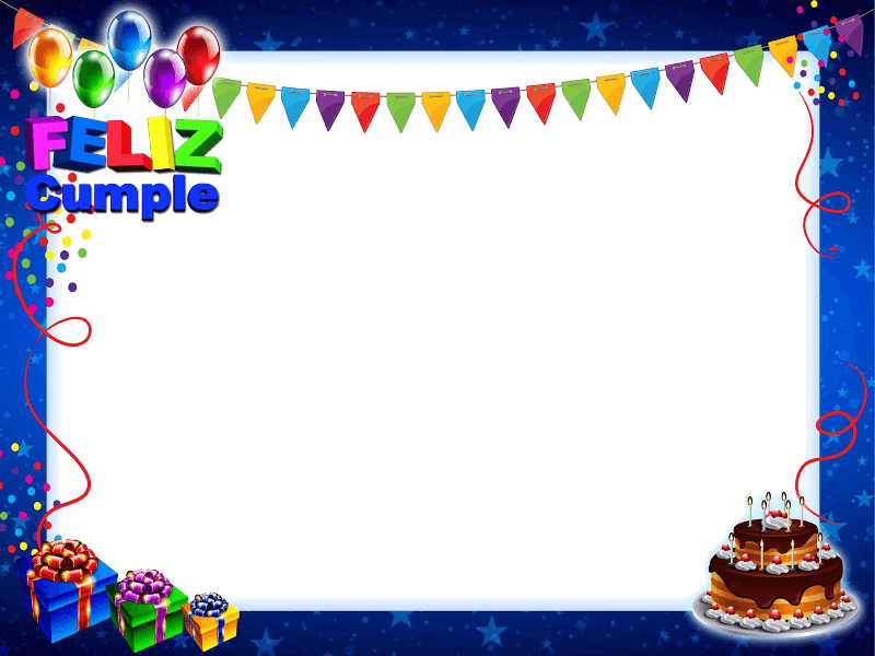 Marco de Feliz Cumpleaños Azul con Tarta y Regalos   Proyectos que ...