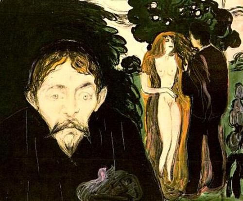"Jealousy - Edvard Munch, 1896 The man has the same features as Munch\'s friend Stanislaw Przybyszewski, a Polish man of letters. This detail means that the woman has to be Dagny Juel, a Norwegian who, l was part of the ""Black Pig"" circle in Berlin in the early 1890s. She had been married to Przybyszewski for a few years. It may be that she is shown here with a lover. For Munch, the state of jealousy represents a deep, tragic ruin of the world."