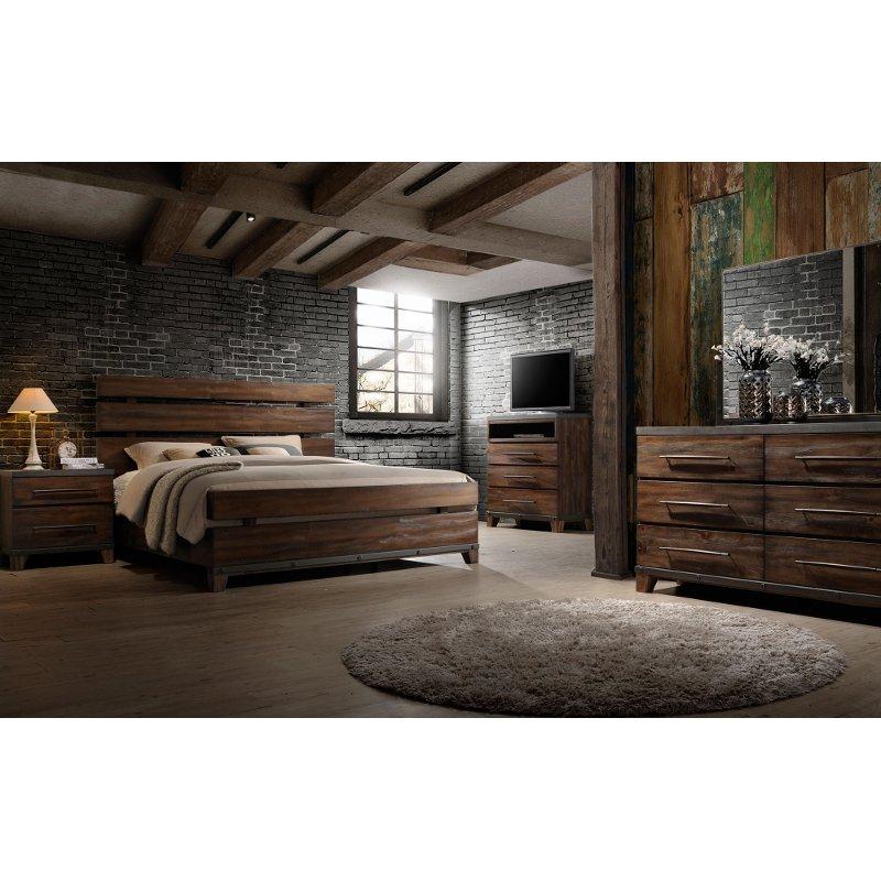 Modern Rustic Brown 4 Piece Queen Bedroom Set Forge Rustic