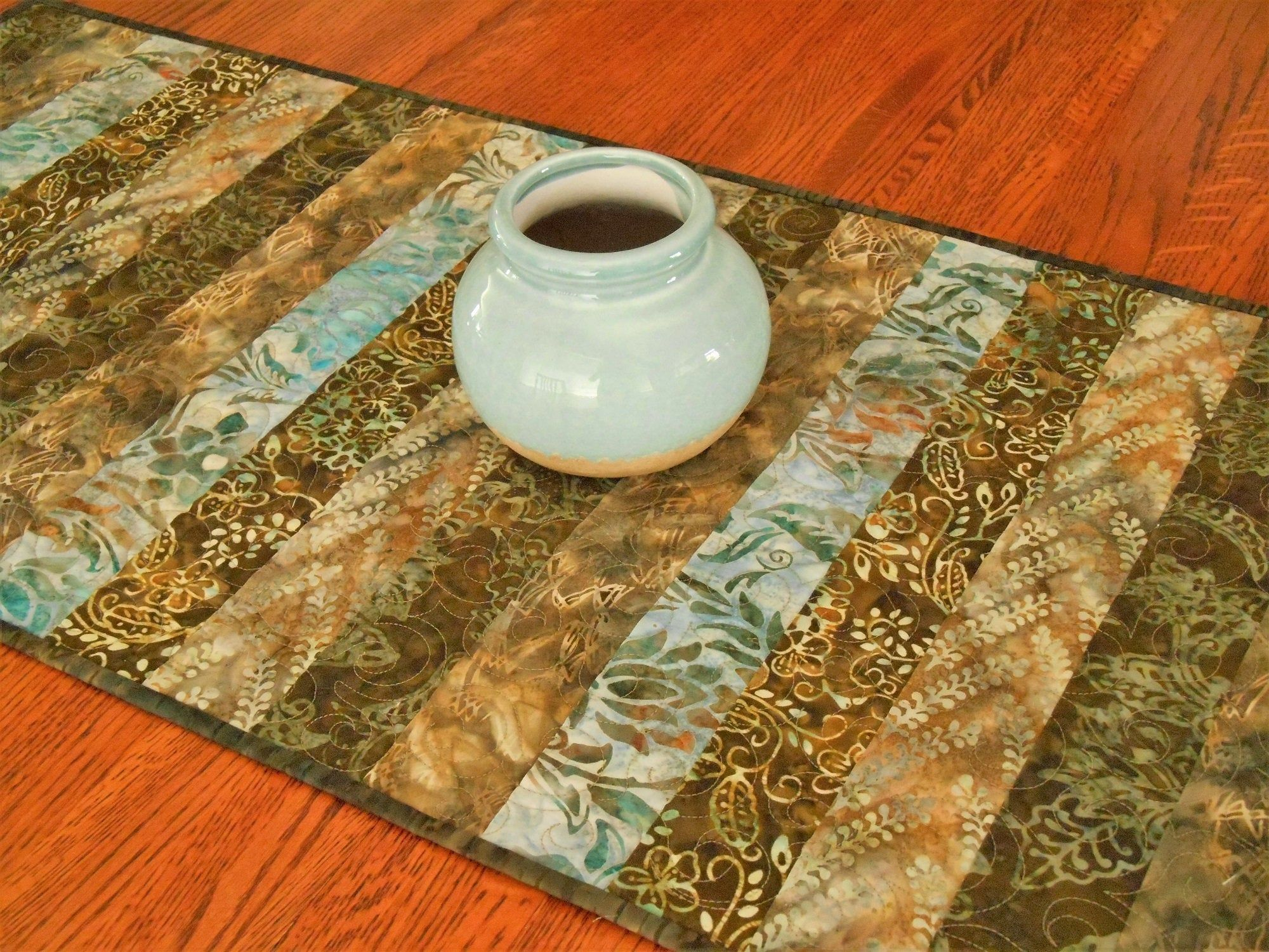 Brown And Blue Quilted Batik Table Runner Dining Table Runner Coffee Table Runner Dresser Runne Batik Table Runners Dining Table Runners Coffee Table Runner