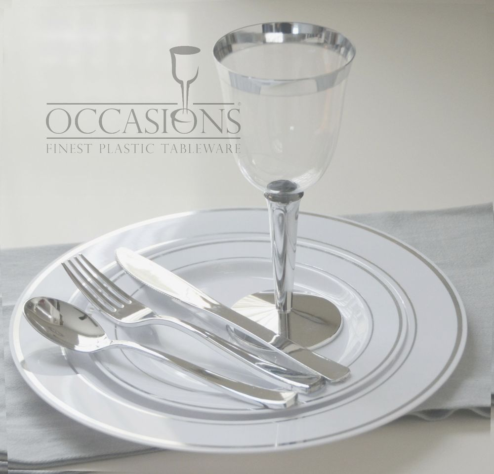 Wedding Party Disposable Plastic Plates And Cutlery Wine Cups W Silver Rim Disposable Plastic Plates Disposable Wedding Plates Elegant Plastic Plates