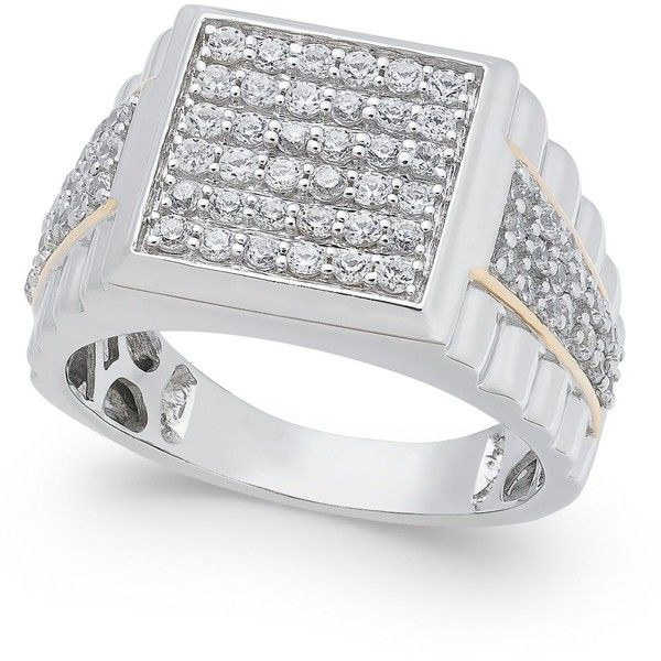 Men S Diamond Cluster Ring 1 1 4 Ct T W In 10k White And 10k Gold 1 800 Liked On Polyvore F With Images Mens White Gold Rings Mens Gold Rings Diamond Cluster Ring