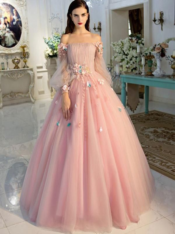 3ab0e4c9272 Long Sleeve Prom Dresses Pearl Pink Ball Gown Long Floral Fairy Prom ...