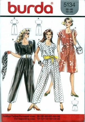 Misses Long or Short Jumpsuit UNCUT Burda 5134 Sewing Pattern Size 10 - 20