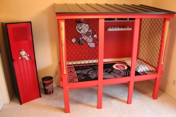 Baseball Bat Double Bed Frame With Images Baseball Bedroom