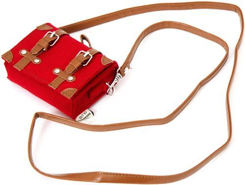 cute red mini felt shoulder bag with leather strap 4