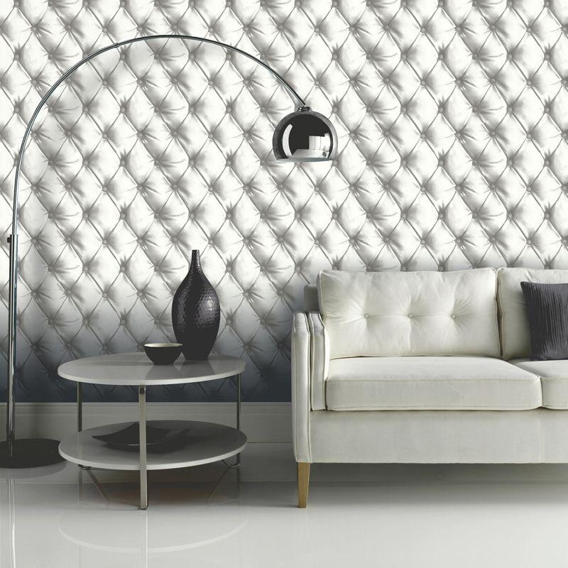papier peint capitonn effet cuir pas cher d co blanche pinterest wallpaper white. Black Bedroom Furniture Sets. Home Design Ideas