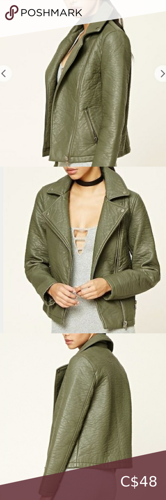 Forever21 Textured Faux Pebble Leather Moto Jacket in 2020