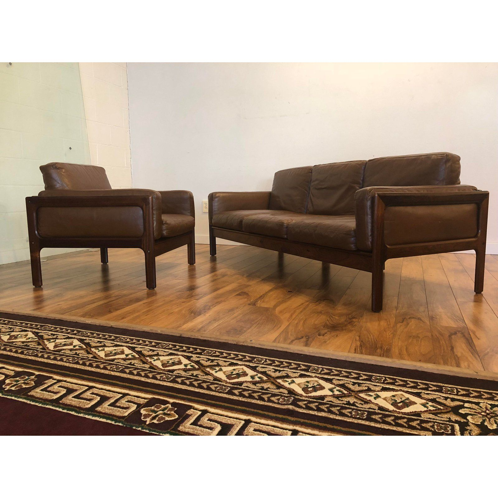 Best Brown Komfort Mid Century Leather Sofa Chair Set For 640 x 480