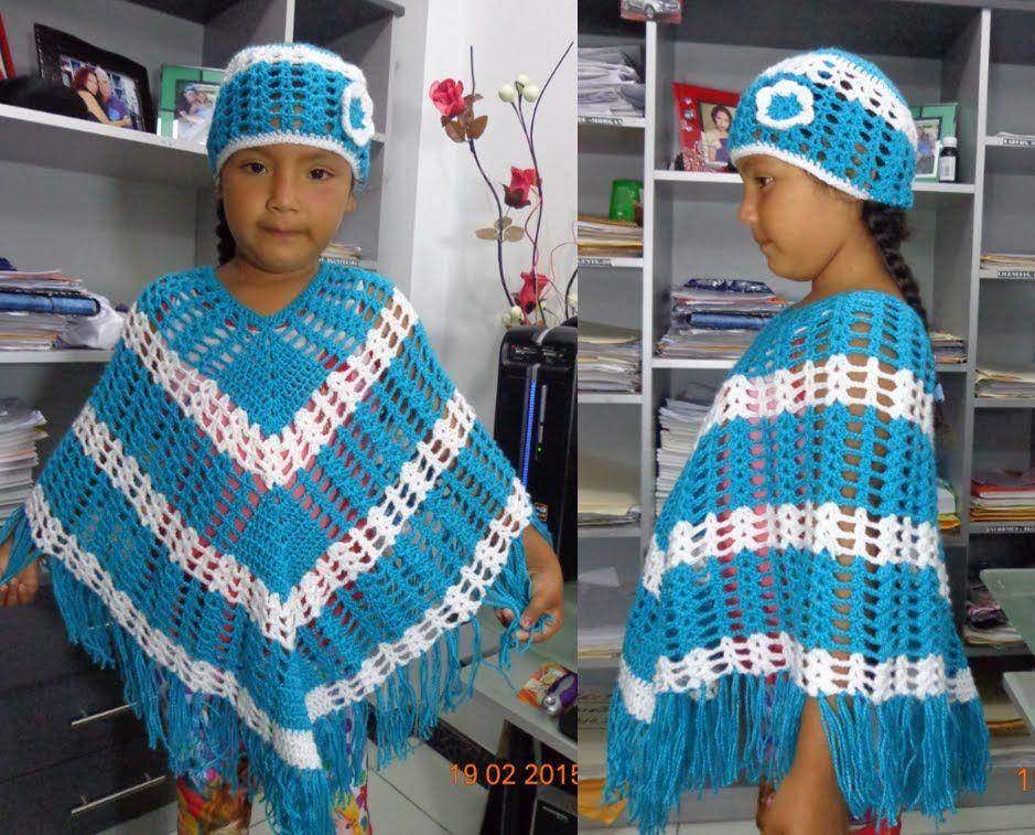 como hacer un poncho r pido y f cil a crochet para ni a. Black Bedroom Furniture Sets. Home Design Ideas