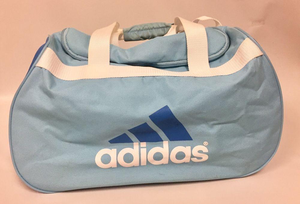 Vtg Adidas Sports Bag Gym School Bookbag Retro Blue White Vintage