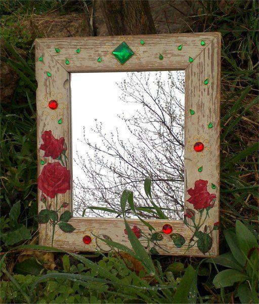 Espejo Gypsy Decorado Con Rosas Y Piedras Preciosas