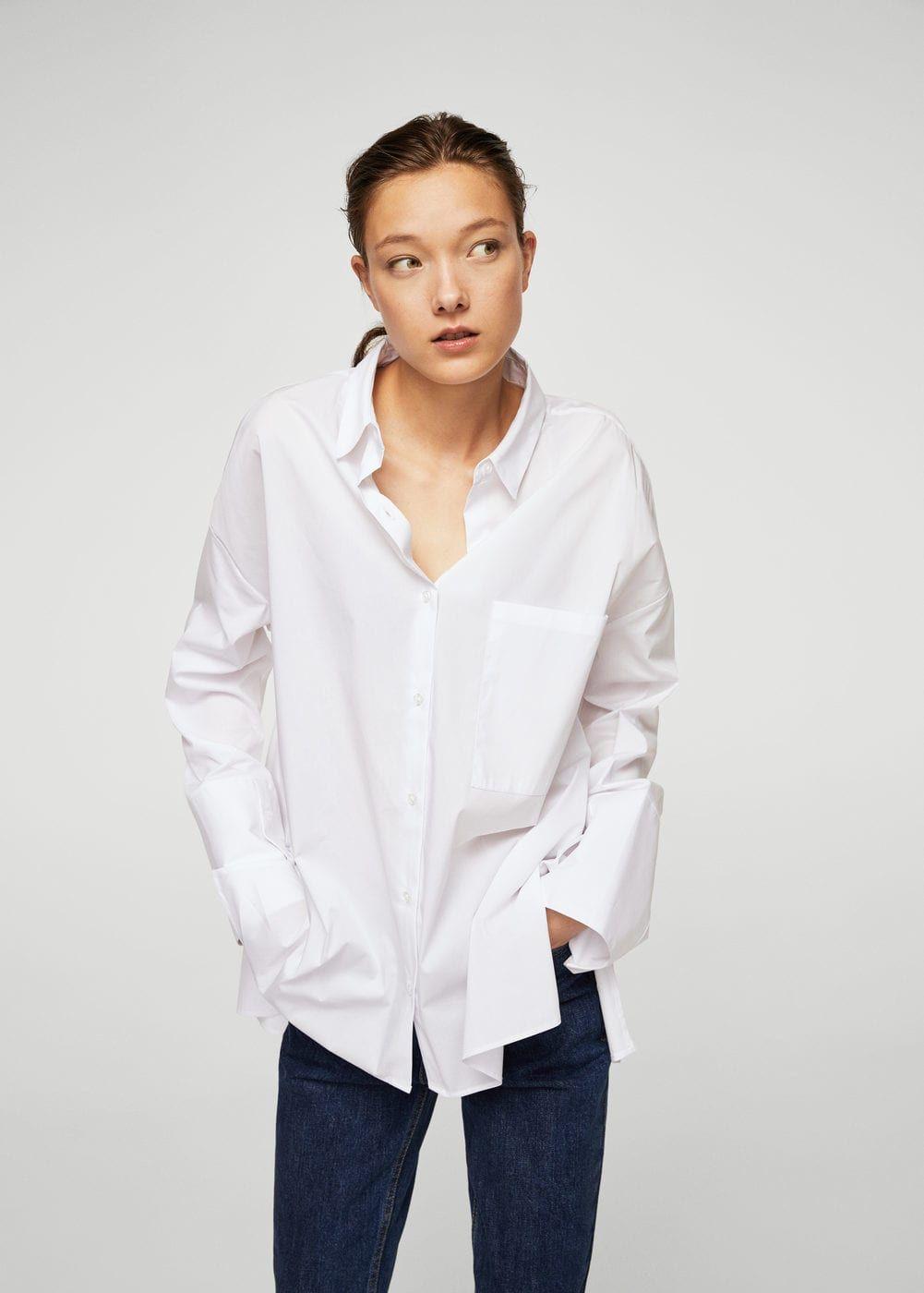 Mango Cotton Shirts Women Cotton Shirt Shirts [ 1400 x 1001 Pixel ]