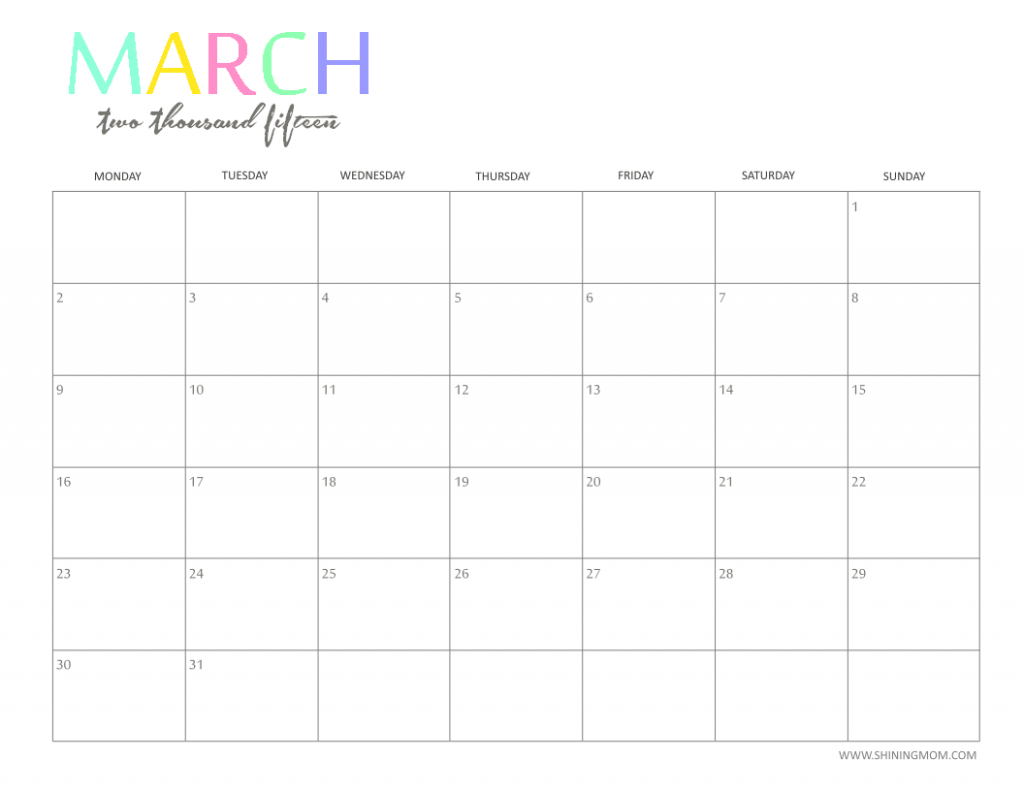 Free 2015 Printable Calendar By Shiningmom Fun And Colorful