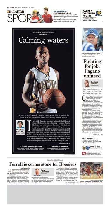 """Calming Waters"" Indianapolis Star Sports designed by Michael Farkas. (10.25.15) #newsdesign"
