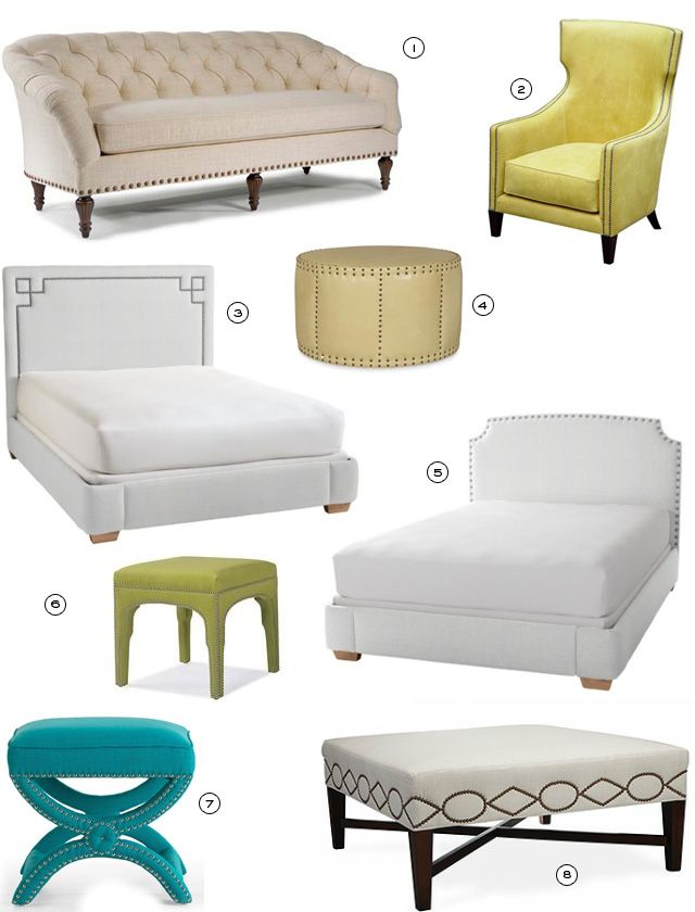 Nailhead Trim Furniture Ottoman Bed Headboard Chair Sofa Diy Home Furniture,  Diy Furniture Projects,