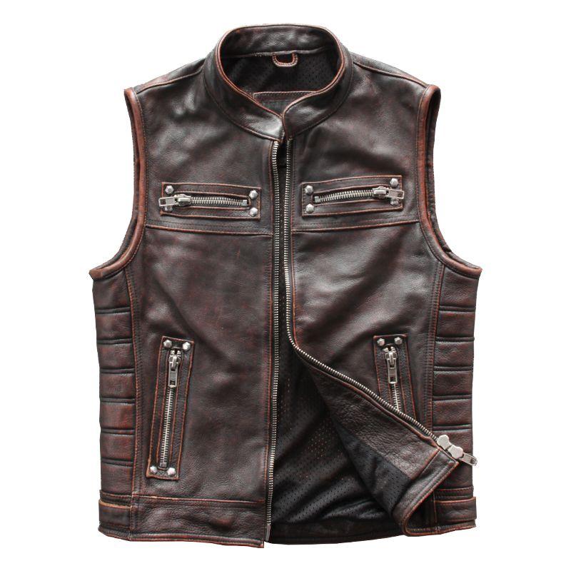Vintage Brown Men Motorcycle Leather Vest Motorcycle Leather Vest Motorcycle Leather Leather Vest