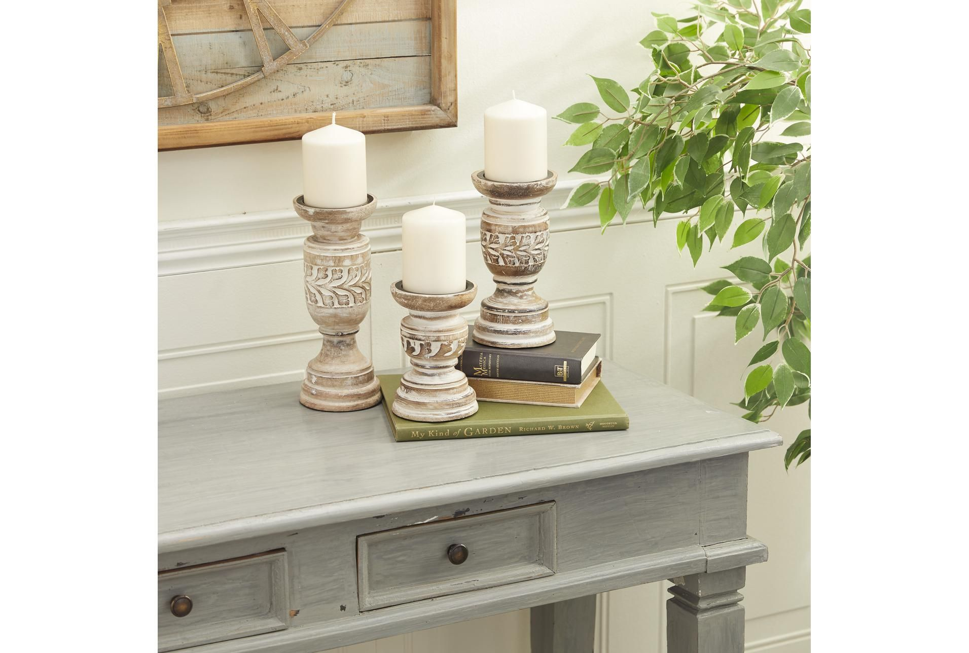 White Wash Candle Stick Set Of 3 - Brown - $30
