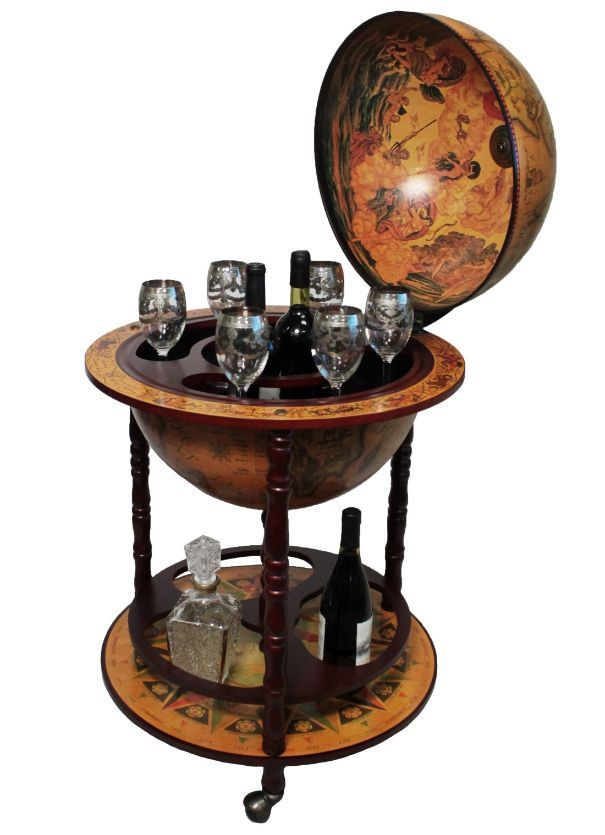 Merveilleux Mini Bar Globe Office Rack With Wine Storage Wood 16th Century Style  Antique #CasaCortes