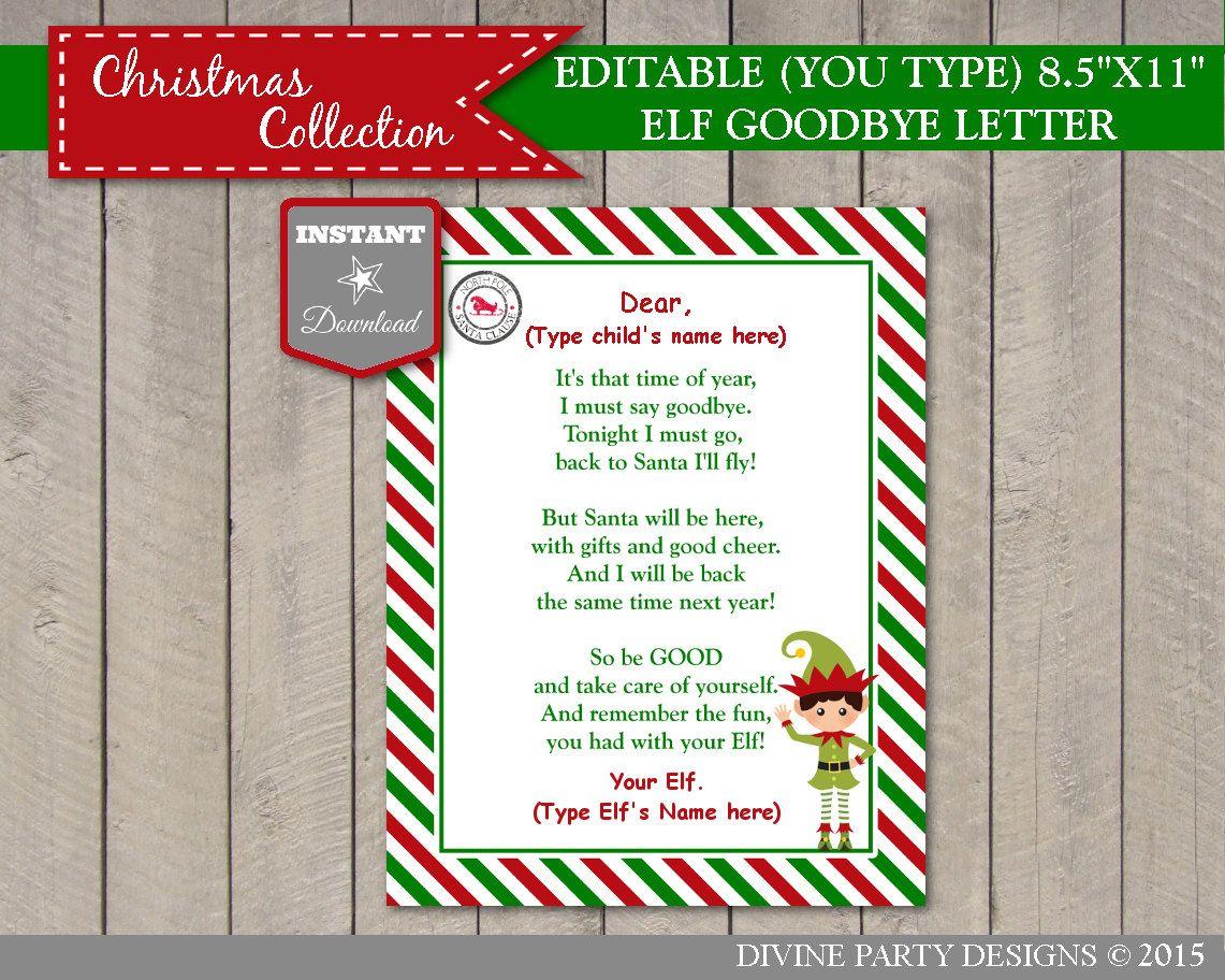 INSTANT DOWNLOAD Printable Editable Elf Goodbye Letter