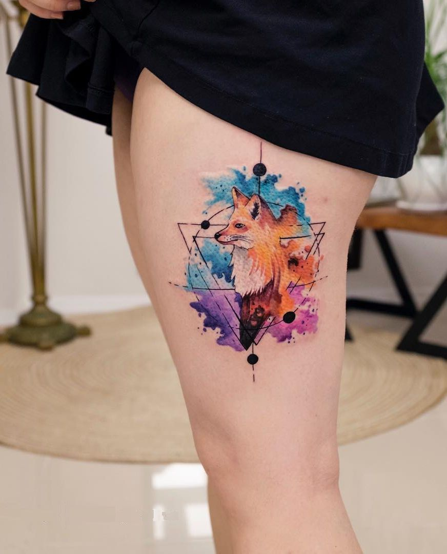 Explosion Of Colors Beautiful Watercolor Tattoos By Koray Karagozler Geometric Watercolor Tattoo Watercolor Fox Tattoos Tattoos