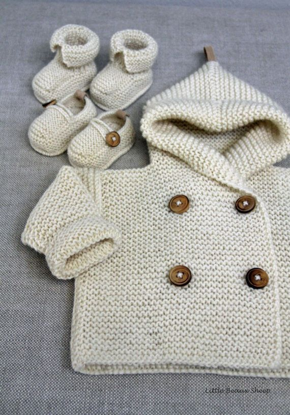CLASSIC, SOFT AND COZY HOODED BABY SWEATER COAT WITH SUEDE DETAIL ON ...