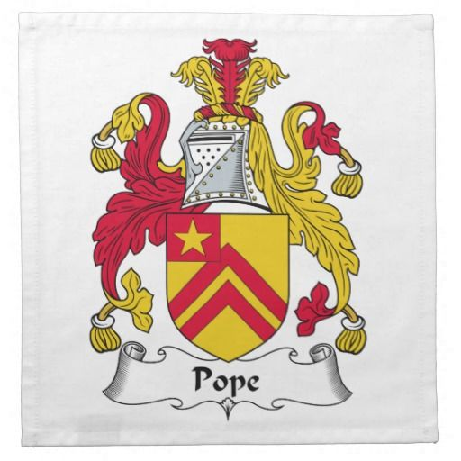 Pope Family Coat of Arms | Pope Family Crest Printed Napkin from Zazzle.com