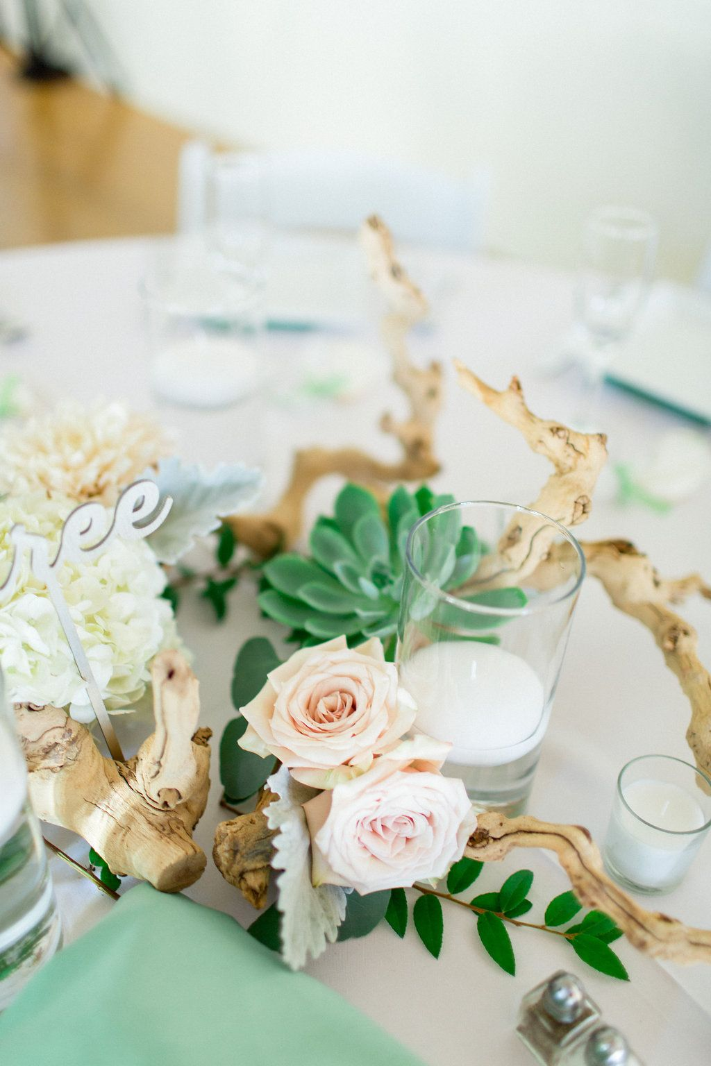 The Thursday Club Succulent & grapewood centerpiece for a beach ...
