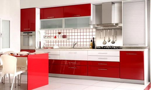 Download Wallpaper Red And White Kitchen Pictures