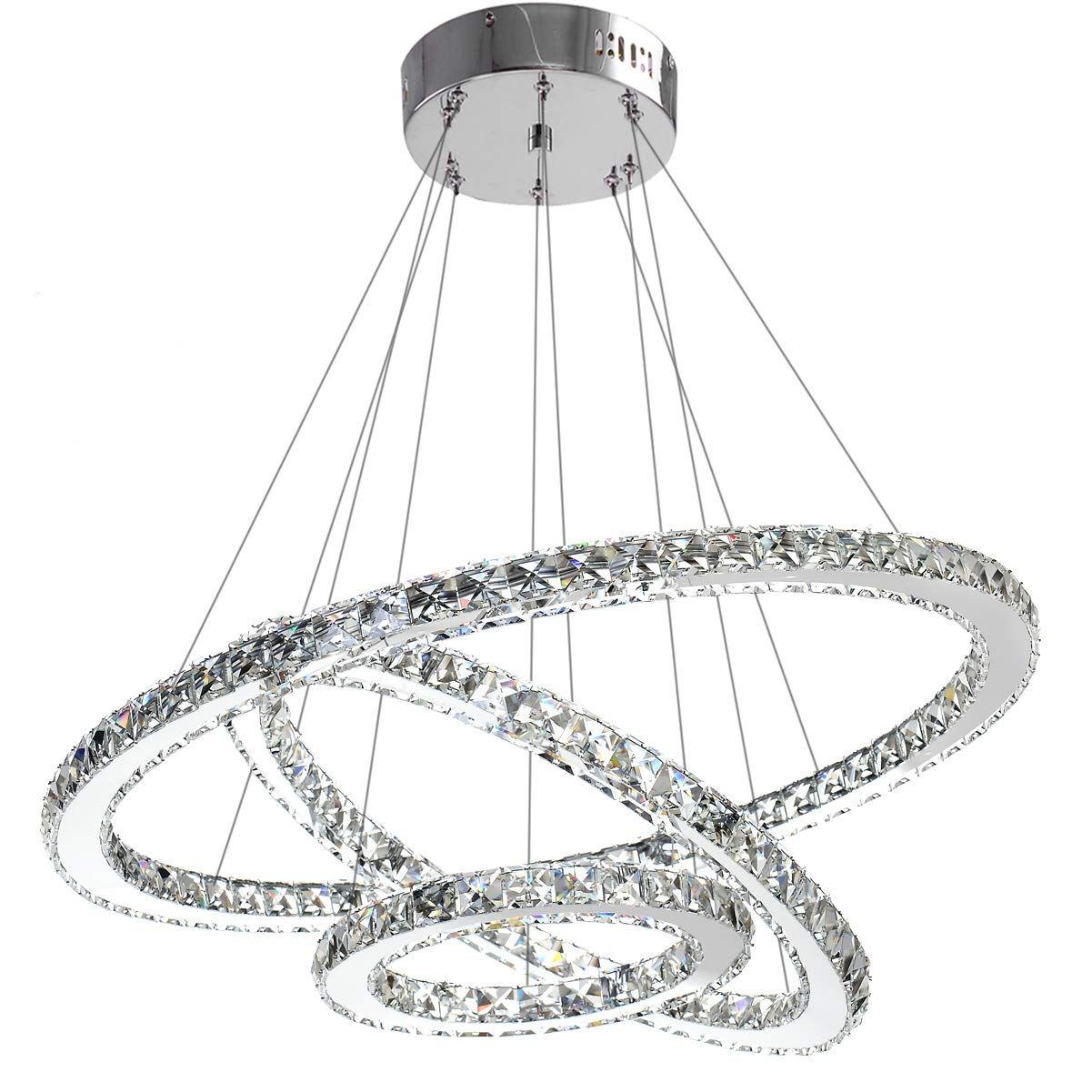 Modern Crystal Chandelier Lighting Ceiling Dining Room Living Room Chandeliers Contemporary Led Light Fixtures Hanging 3 Ring Foyer Girls Bedroom Pendant Lights In 2020 Modern Crystal Chandelier Crystal Chandelier Lighting Chandelier Lighting