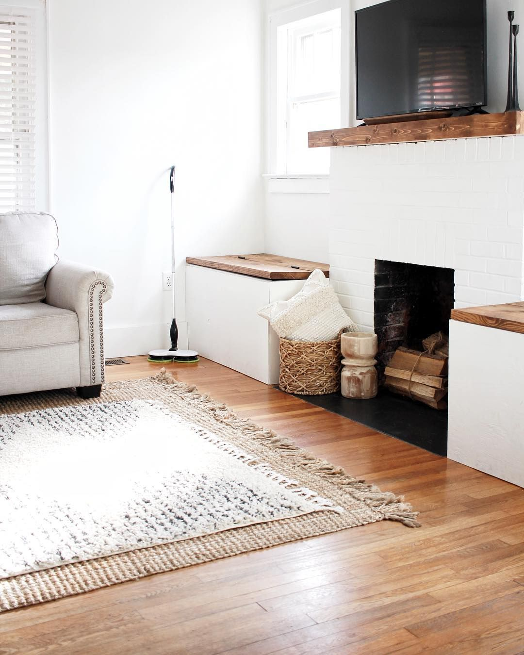 Storage Benches Beside Fireplace Dining Room Table Built In