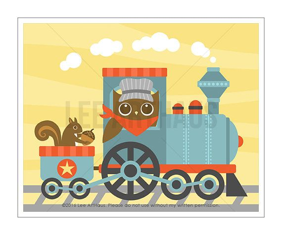 100A Owl Nursery Print Owl and Train Wall Art Train Print | Lee ...