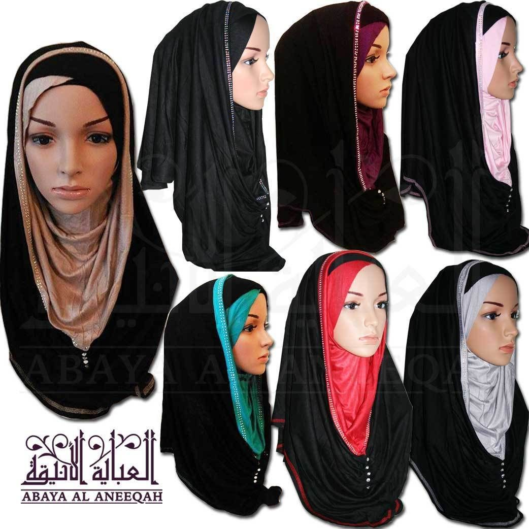 47e9c943f23f Pull On Ready Made One Piece Diamonte Jersey Hijab Stretch Scarf 14 Colours