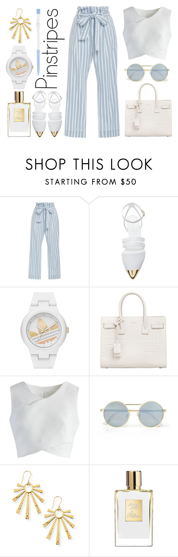 """""""Classic Chic: Pinstripes"""" by stavrolga on Polyvore featuring Frame Denim, Jenni Kayne, adidas, Yves Saint Laurent, Chicwish, Le Specs, NEST Jewelry, polyvoreeditorial, pinstripes and polyvorecontest"""