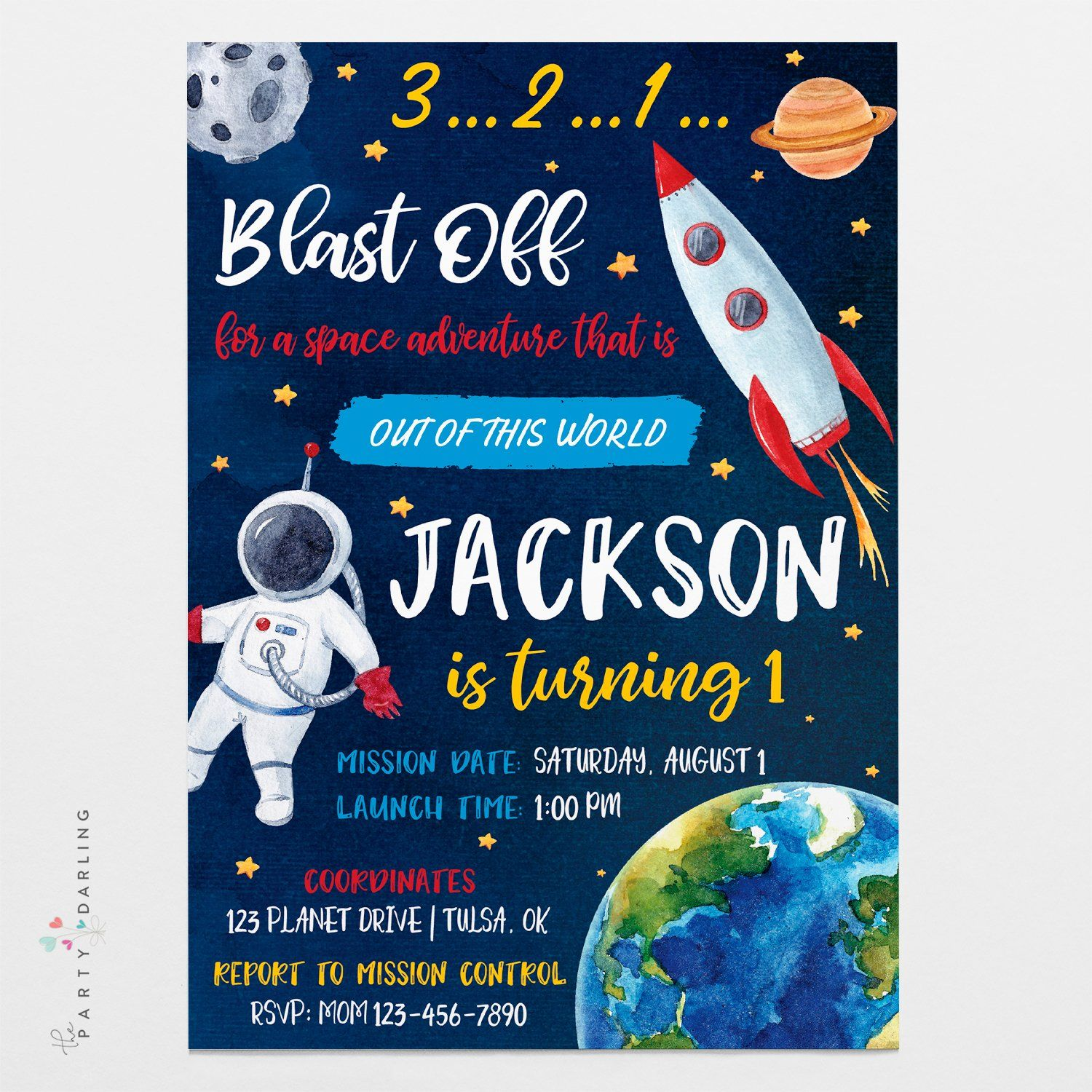 Outer Space Rocket 30 Astronaut Spaceship Birthday Party Invitations Personalized Party Invitations Artfully Invited Galaxy