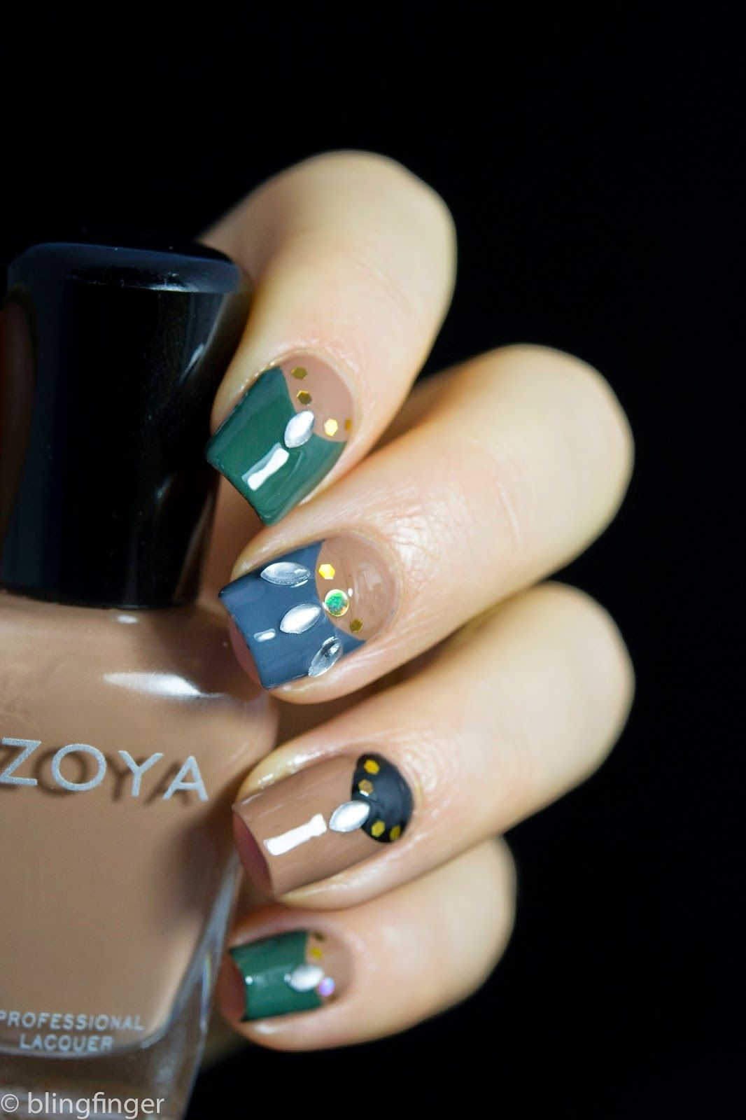 Decorated Half-Moon Manicure. http://www.blingfinger.net/2014/12/decorated-half-moon-manicure.html